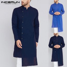 $enCountryForm.capitalKeyWord NZ - INCERUN Mens Shirt Long Sleeve 100%Cotton Slim Fit Men Shirt Vintage Solid Color Irregular Pakistan Tops Indian Kurta Suit Men