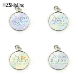 Faith Hope Love Pendants Australia - New Fashion Expressions of Faith Hope Love Rejoice Bless Peace Words Glass Dome Round Pendants Movement Quotes Charms Gifts