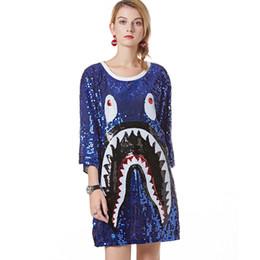 $enCountryForm.capitalKeyWord Australia - Novelty 3D Print Shark Sequin Dress Casual Loose Short Sleeve Sequined T-shirt Dress Oversized Mini Shift Shirt Dress Paillette