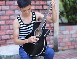 $enCountryForm.capitalKeyWord Australia - Acoustic guitar 40 inch electric box super thin barrel body black beginner practice wooden guitar wholesale free shipping