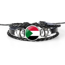 Wholesale World cup football flags online shopping - Women Men Genuine Handmade Leather Rope Beaded Bracelet for Women Men Sudan National Flag World Cup Football Fan Time Gem Glass Dome Jewelry