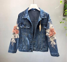 industry jackets NZ - Heavy industry embroidery three-dimensional flower short wash water long-sleeved cowboy jacket light blue women's coat free shipping