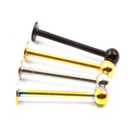 $enCountryForm.capitalKeyWord NZ - Free shippment 50pcs Body Jewelry -16g Lip Labret Cheek Dimple 316L Surgical Steel CHEEK DIMPLE Long Labret Bar Piercing
