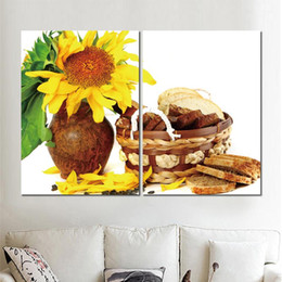 Sunflower Pictures Australia - 2 sets car poster basket bread song jar sunflowers canvas printed painting wall pictures for living room decor