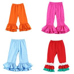 Ragazze Solid Ruffle pantaloni 17 colori di bambino del bambino Pantaloni per bambini vestiti casuali ragazze cotone di autunno Splice pantaloni casual teen Outfits personalizzati 06 in Offerta