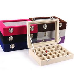 $enCountryForm.capitalKeyWord Australia - Velvet Glass Jewelry Display Box 20*15*4.5cm Jewelry Tray Holder Casket Storage Organizer 2017 Earrings Ring Box T190629