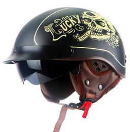 $enCountryForm.capitalKeyWord Australia - helmet With Inner Sun Visor Vintage Half Face Motorcycle summer Helmet Casco Casque Moto Retro Helmets DOT T55