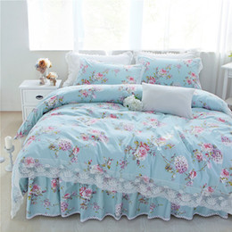 Elegant Queen Size Bedding Sets Australia - New pastorale ruffle lace bedding set elegant princess matching duvet cover flower queen king size bedspread bed skirt