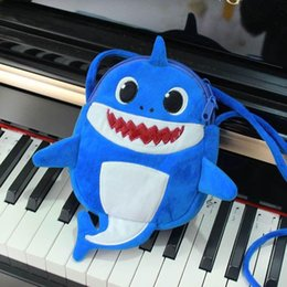 $enCountryForm.capitalKeyWord Australia - INS Baby Shark Cartoon Coin Purse Fanny Pack Kids Fuzzy Messenger Bag Cute Shark Doule Layers Zipper Bag Children Plush Crossbody Bag