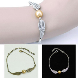 golden snitch bracelets Australia - Wholesale- Unisex Golden Snitch Pocket Bracelet Wings Vintage Retro Tone Wristband Chain Bracelet Bangle Wirst Band 1Pcs