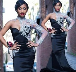 $enCountryForm.capitalKeyWord Australia - Black Mermaid Prom Dresses Silver Lace High Neck Sheer Long Sleeve Evening Gowns South African Satin Women Formal Party Dress Custom Made