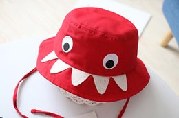 Navy Sun Hat Australia - Fashion Children's Shark Fisherman Hat Sun Visor Hat For Baby Kids Shark Cartoon Pure Cotton Texture Red Navy Colors Top Quality Free DHL