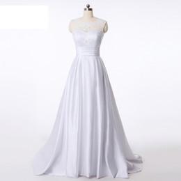 White Brides Dresses NZ - Popodion Simple Lace Vintage Mariage Wedding Gown White Wedding Dress Plus Size Bride Dress vestido De noiva WED90392