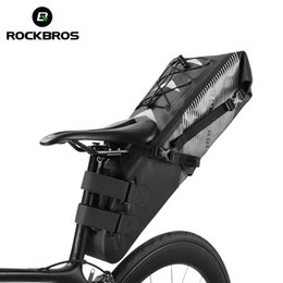 Foldable Cycles Australia - ROCKBROS 10L Waterproof Bike Bicycle Saddle Bag Reflective Large Capacity Foldable Tail Rear Bag Cycling MTB Trunk Pannier Black