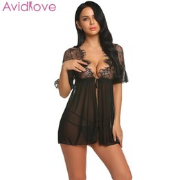 Wholesale Avidlove Badydoll Sexy Sleepwear Erotic Costumes Women V neck Medium Sleeve Lace Floral See Through Lingerie Nightwear Y19070302