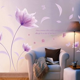 PurPle wallPaPer for bedroom walls online shopping - Creative Pvc Wall Stickers Purple Flowers Decals For Living Room Bedroom Tv Wallpaper Large Removable Diy Art Home Decoration