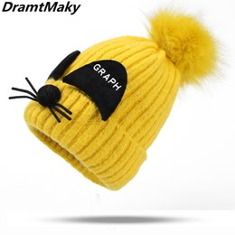 f33b0543 Children's Knit Beanie Hat Dyeing Pom Pom Winter Hat Boy Girl Warm Skullies  Bone Brand Kids Baby Soft Cap 2-8 years old Kids