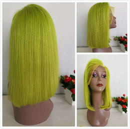 green lace wigs NZ - Lime Green Bob Lace Front Wigs Short Human Hair Pre Plucked Peruvian Straight Glueless Full Lace Wig For Black Women Colored Green Bob Wig