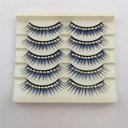 $enCountryForm.capitalKeyWord Australia - New Blue Eyelashes with Diamond for Latin Dance 5pairs Dramatic Thick False lashes Synthetic Hair Stage makeup