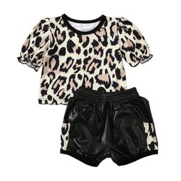 baby leopard print t shirt NZ - 2PCS Toddler Kids Baby Girl Clothes Set Leopard Print Pullover Tops T-shirt + Leather Mini Pants Outfit Party 1-5Y