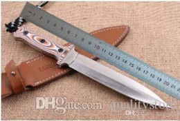Custom fixed blade knives online shopping - Custom AUS Double Action Blade Fixed Blade Knife Outdoor Tactical Survival Bowie Jungle Camping Hunting Fishing knife with Leather Sheath