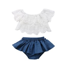 $enCountryForm.capitalKeyWord Australia - Summer Baby Girls Toddler Off Shoulder White Lace Tops+Denim Shorts Dress Outfits Clothes