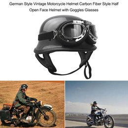 $enCountryForm.capitalKeyWord Australia - German Style Motorcycle Helmet Carbon Fiber Half Open Face Helmet with Goggles Glasses for Motorcycle Biker Cruiser Scooter