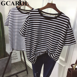 $enCountryForm.capitalKeyWord Australia - wholesale 2019 New Summer Black White Striped T shirt O Neck Drop Shoulder Oversize Tees Chic High Quality Streetwear Basic