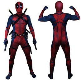 Wholesale deadpool costume zentai for sale – halloween Drop Shipping Universe Classic Muscle Chest Deadpool Costume Full Bodysuit Zentai Suits Kids D Style Cosplay Hood Separated