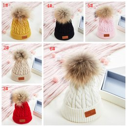 fallen hats Australia - 6styles Children's Knitted Hat Fall and Winter Elastic solid fur ball Children's Knitted Hat Thermal Cap Outdoor kids Sports Ski Cap FFA2910