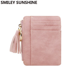 leather change purse men UK - SMILEY SUNSHINE Nubuck Leather Mini Tassel Women Wallets and Purses Cute Credit Card Ladies Wallets Female Change Coin Purses