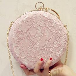 $enCountryForm.capitalKeyWord Australia - Elegant Lace Flower Box Women Clutch bag Dinner Wedding Bridal Party Hand Bag Vintage White Nude Round Evening Bag for Women #788961
