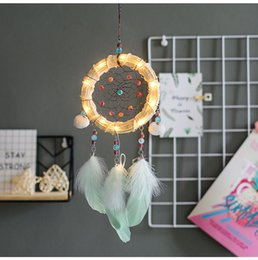 $enCountryForm.capitalKeyWord Australia - Beautiful Led Rattan Ring Dream Catchers Girls Birthday Gift Photography Props Feather Small Dreamcatchers For Car Lamp Bedroom Decoration