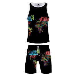 $enCountryForm.capitalKeyWord Australia - 3D Cool Harajuku Streetwear Cool two piece set Tank Tops and shorts Fashion New Arrival Casual Summer Men's Set