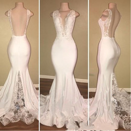 V Neck Collared Wedding Dresses Australia - 2019 New Mermaid Wedding Dresses V-Neck Appliques Open Back Castle Lace vestido de novia Beach White Bridal Gowns Cheap