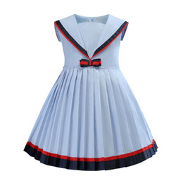 daea5683a9ea girls dress 2019 INS hot styles New summer styles girl kids sailor collar short  sleeve elegant high quality cotton Pleated princess dress