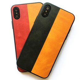 Black Blocks Australia - Retro PU Pattern Phone Case For Iphone X XR XS Max Color Blocking Back Cover For Samsung