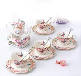 Chinese CeramiC glasses online shopping - Chinese Tea Set Porcelain High Temperature Resistance Glass Teapot With People Ceramic Cups and Saucers Wedding Gift