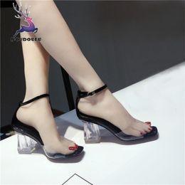 Block C Australia - Designer Dress Shoes Fashion Women Transparent Sandals Ankle High Heels Block Party Open Toe Woman 2019 New Summer Women zapatos mujer