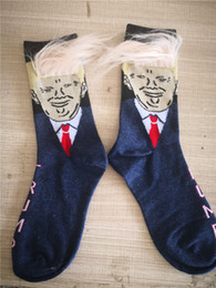 $enCountryForm.capitalKeyWord NZ - President Donald Trump Socks Unisex Crew Socks with 3D Fake Hair Cute Funny Print Adults Mid Long Stockings Men Women Noval Socks A52210
