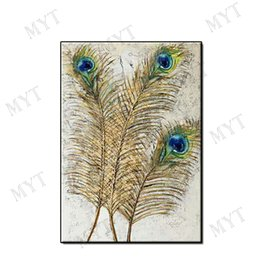 $enCountryForm.capitalKeyWord Australia - Beautiful picture abstract wall art home decor pure Hand-painted Peacock feather Abstract Oil Painting on canvas for living room no framed