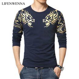 $enCountryForm.capitalKeyWord Australia - 2019 Autumn New High-end Men's Brand T-shirt Fashion Slim Dragon Printing Atmosphere T Shirt Plus Size Long-sleeved T Shirt Men S430