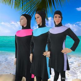 $enCountryForm.capitalKeyWord Australia - Muslim Swimwear New Sunscreen Beach Style Modest Swimsuit Women Long Sleeve With T-shirt Pants Caps Islamic Bathing Suit