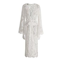 Wholesale women long summer cardigans resale online - Women Long Cardigan Female Pattern Lace Gown Bell Sleeve Long Sleeve V neck Belt Vacation Style Skirt