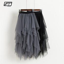 513ba4d01045c1 Fitaylor Tul mujer cintura alta malla dobladillo asimétrico plisado falda  midi hembra delgada negro casual nuevas faldas de verano Q190426