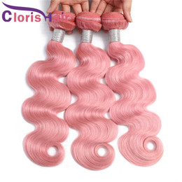 Discount pink human hair bundles Charming Pink Body Wave Bundles Brazilian Virgin Human Hair Weaves 3pc Deals Colored Pink Wavy Extensions Cheap Machine
