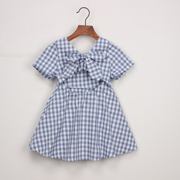 Cute Summer Cloths Canada - 2019 Baby Girls Plaid Backless Dress With Bowknot Toddle Summer Short Sleeve Cute Cotton Princess Dresses Kids Designer Clothes Girls Cloth