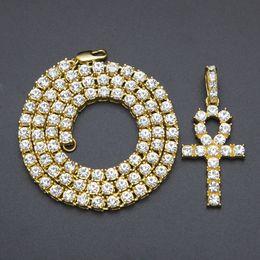 $enCountryForm.capitalKeyWord Australia - Full Diamond Egypt Ankh Necklace Street Hip Hop Key Pendant Necklaces Men Woman Punk Rock Street Cross Collar Exquisite Gothic Bff Jewelry