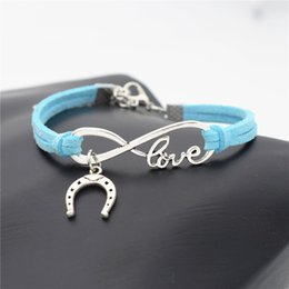 $enCountryForm.capitalKeyWord NZ - 2019 New 10 Colors Punk Blue Leather Suede Cheap Bracelets for women men Charm Statement Fashion Infinity Love Horseshoe Horse Hoof Jewelry
