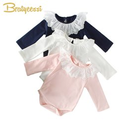 Infant Romper Toddler Australia - 2019 Princess Baby Girl Romper Lace Collar Cotton Baby Rompers Long Sleeves Infant Jumpsuit Toddler Baby Girl Clothes 1pc Y19050602
